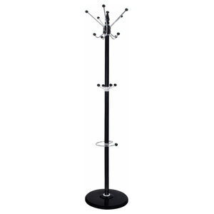 Contemporary Rotating Coat Stand Hanger, Metal With 15-Hook, 3-Tier Design