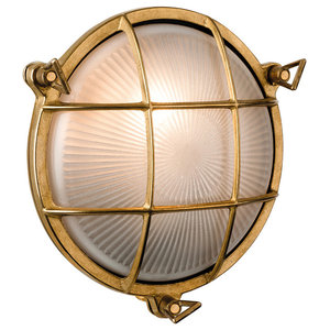 Round Nautic Flush Wall Light, Brass