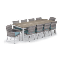 "Travira 11-Piece 103""x42"" Table and Argento Woven Chair Dining Set, Ice Blue"