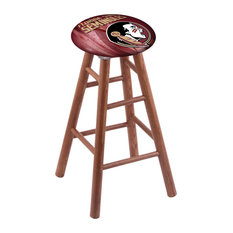 Oak Bar Stool Medium Finish With Florida State Head Seat 30-inch