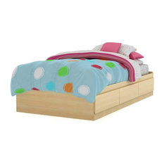 South Shore Popular Twin Mates Bed (39'') With 3 Drawers, Natural Maple