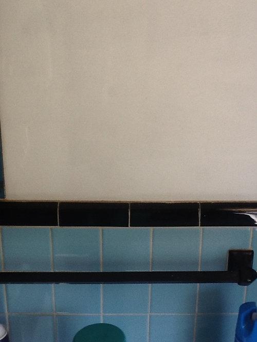 1950's bathroom blue tile with black trim