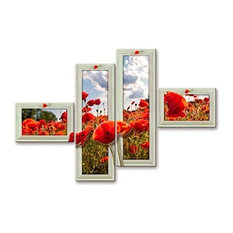 Poppies In Frame 4-Piece Modern Canvas, 160x100 cm