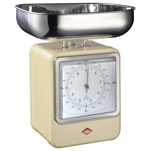 Wesco Retro Scales With Clock, Almond