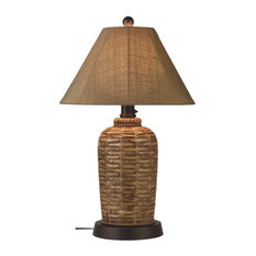 """South Pacific 33"""" Outdoor Table Lamp With Sesame Sunbrella Shade"""