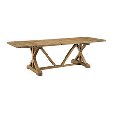 Extendable Pine Wood Dining Table Brown