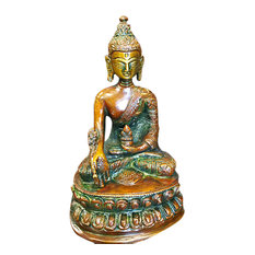 Mogul Interior - Buddhist Brass Statue Buddha Earth Touching Mudra Sculpture Religious Figurine - Decorative Objects And Figurines
