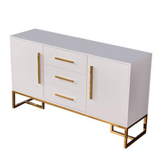 59-inch White Buffet Table 2 Doors & 3 Drawers Kitchen Storage Sideboard Cabinet
