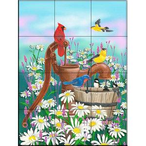 Tile Mural, Pumped Up Songbirds - MT, 32.4x43.2 cm