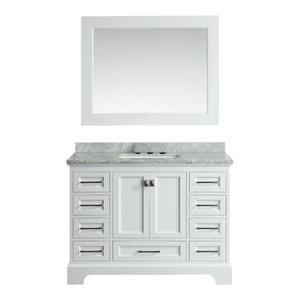 "Omega 48"" Single Sink Vanity Set, White"