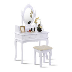 Costway White Vanity Jewelry Makeup Dressing Table Set W/Stool 4 Drawer Mirror