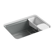 "Kohler Riverby 27""x22""x9-5/8"" Kitchen Sink, 5 Oversized Holes, Basalt"
