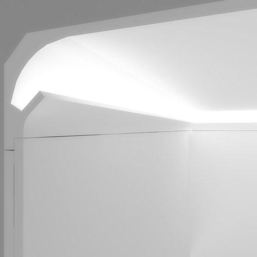 Veletta per luce diffusa led tra parete e soffitto da incasso nel cartongesso