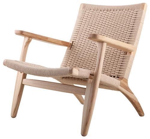 Modern Scandinavian Beech Wood Chair Woven Rope Seat Natural Beech New Beechwood Furniture Exterior