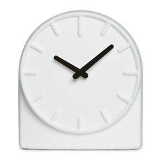leff amsterdam table clock felt two white with black hands desk and mantel clocks - Designer Desk Clock