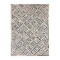 Teton Natural Hide Rug, Gray and Silver, 8'x11'