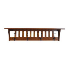 """Mission Style Wall Mounted Coat Rack with Shelf, Solid Wood, Oak Wood, 42"""", Mich"""