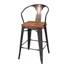 Apt2B Grand Metal Counter Chairs Set of 4 Gunmetal Bar Stools And