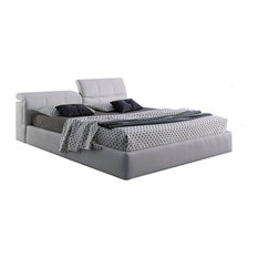 JNM Furniture - Tower Modern Style Storage Bed, Made in Italy, King Size, White Eco Leather - Platform Beds