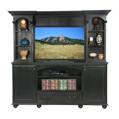"""American Premiere 80"""" Entertainment Console, Caribbean Rum, With Hutch"""