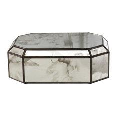 Worlds Away Antiqued Mirrored Octagonal Box