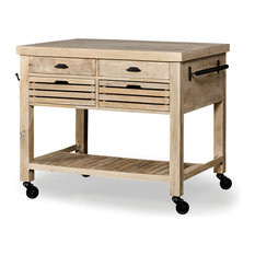 Columbia II Light Brown Base with Black Iron Knobs Rolling Kitchen Island