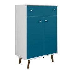 Mid Century Modern Dresser, 1-Drawer, 3-Shelf, White, Aqua Blue