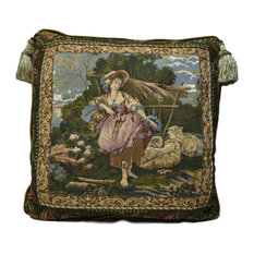 Italian Tapestry Pillow With Tassels, Gold