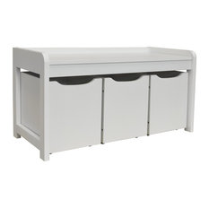 Newton Hallway Bench With 3 Drawers, White