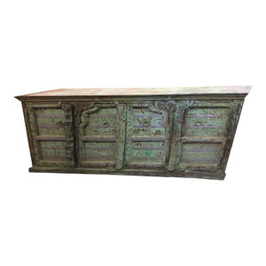 Mogul Interior - Consigned Antique Carved Huge Vanity Chest Old World Green Sideboard Buffet - Buffets And Sideboards