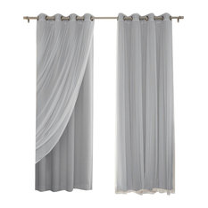 best home fashion gathered tulle sheer and blackout 4piece curtain set gray