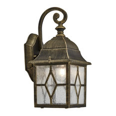 Traditional Outdoor Black/Gold Wall Lantern Light with Cathedral Lead Glass