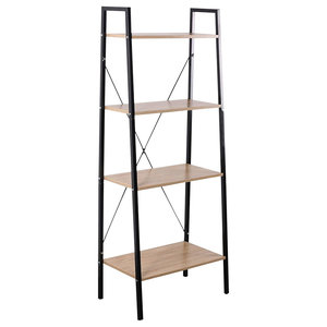 Modern Display Shelving Unit With Wire Metal Frame and 4 Particle Board Shelves