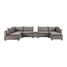 Bowery Hill 7PC Sectional With USB Storage Console In Light Gray