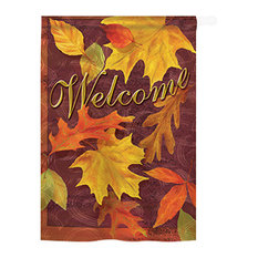 Harvest & Autumn Fall Leaves 2-Sided Vertical Impression House Flag