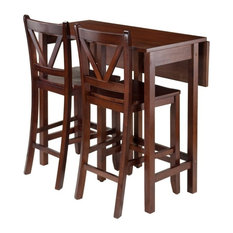 Lynn3-Piece Set Drop Leaf Table With 2 Counter V-Back Stools