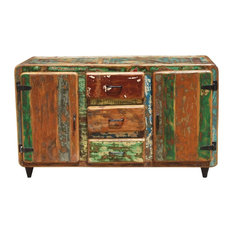Roswell Rustic Reclaimed Wood 3 Drawer Sideboard Cabinet