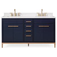 "60"" Beatrice Double Sink Navy Blue Bath Vanity"
