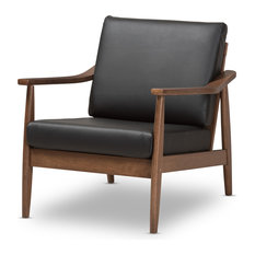 Baxton Studio - Venza Mid-Century Modern Walnut Wood Black Faux Leather Lounge Chair - Armchairs and Accent Chairs