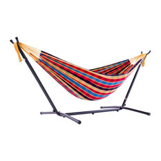 Double Cotton Hammock With Steel Stand, Paradise Checkered