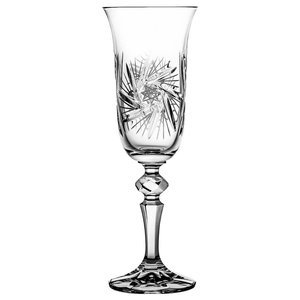 Pinwheel Lead Crystal Champagne Flutes, Set of 6