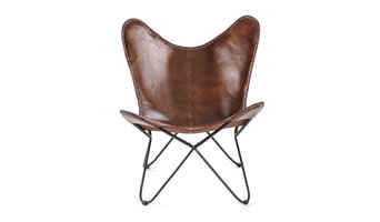 Montreux Iron Butterfly Chair With Leather Seat, Brown