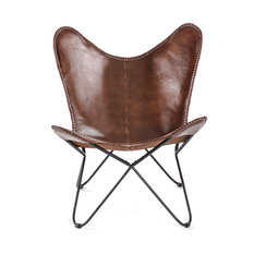 Madeleine Home - Montreux Iron Butterfly Chair With Leather Seat, Brown - Armchairs and Accent Chairs