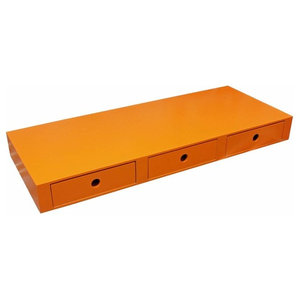Modern Wall Storage Display in MDF with 3 Drawers, Orange