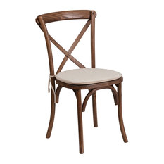 Flash Furniture   Hercules Series Stackable Wood Cross Back Chair With  Cushion, Pecan   Dining