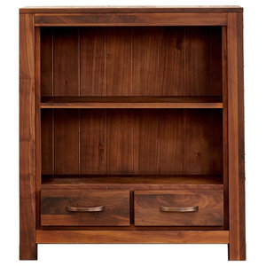 Solid Walnut Low Bookcase With Drawers