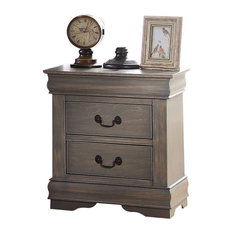 Acme Louis Philippe Nightstand, Antique Gray