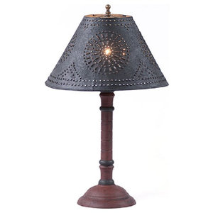 Handcrafted Wood Butchers Table Lamp With Punched Tin Shade ...