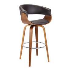 "Armen Living - Julyssa 26"" Mid-Century Swivel Counterstool, Brown Faux Leather With Walnut Wood - Bar Stools and Counter Stools"