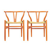 Modern Dining Chairs Wood Armchairs, Set of 2, Orange